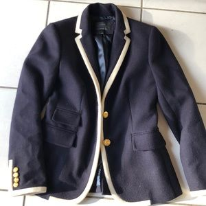 Navy blue wool blazer with cream piping size 2